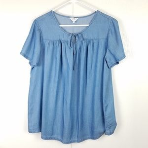 Crown and Ivy short sleeve chambray top size 1X